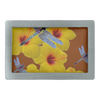 BLUE DRAGONFLIES YELLOW HIBISCUS BROWN ART BELT BUCKLE