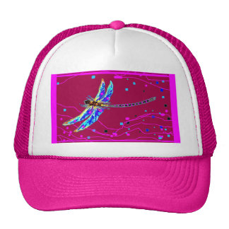 Blue Dragonfly Amethyst Purple Gifts by Sharles Mesh Hats