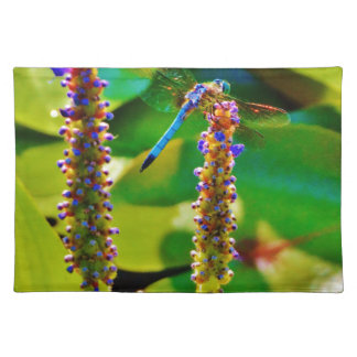 Blue Dragonfly and flowers Place Mat