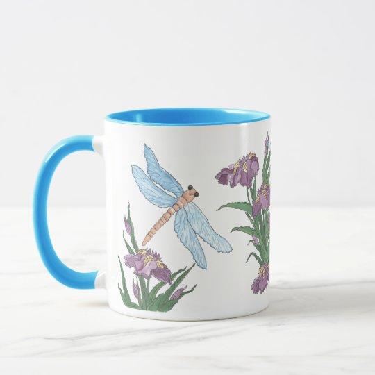 Blue Dragonfly and Iris Mug