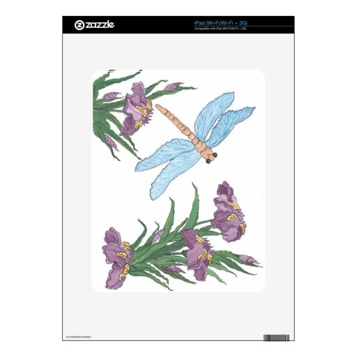 Blue Dragonfly and Iris Skins For The iPad