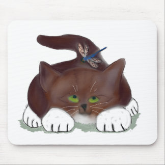 Blue Dragonfly and Kitten Mouse Pad