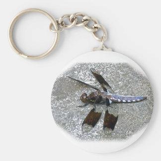 Blue Dragonfly Basic Round Button Keychain