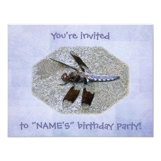 Blue Dragonfly Birthday Party Invitation