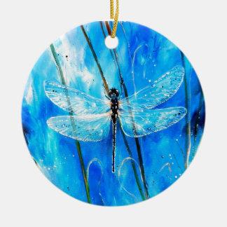Blue Dragonfly Ceramic Ornament