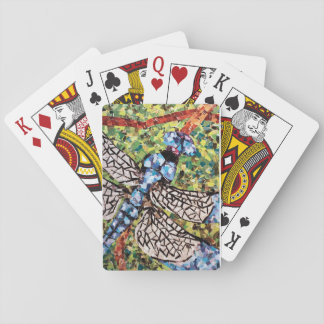 Blue Dragonfly Collage Playing Cards