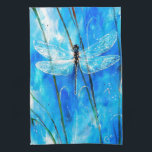 """Blue Dragonfly Kitchen Towel<br><div class=""""desc"""">Blue Dragonfly Acrylic on Canvas 16"""" x 20"""" Angel Egle Wierenga</div>"""