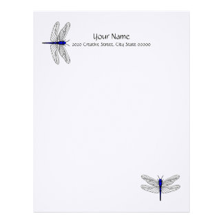 Blue Dragonfly Letterhead Linen Stationary