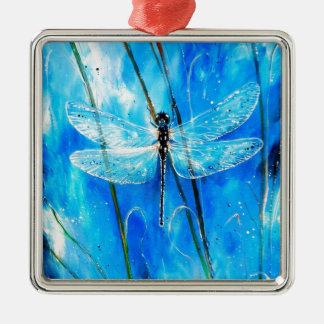 Blue Dragonfly Metal Ornament
