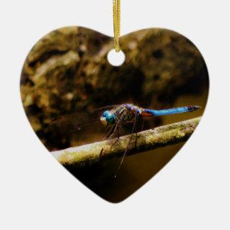 Blue Dragonfly on a brown limb. Ceramic Ornament