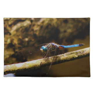 Blue Dragonfly on a brown limb Placemats