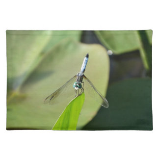 Blue Dragonfly on a green leaf Placemats