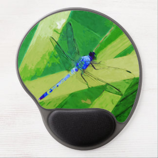 Blue Dragonfly on Green Abstract Impressionism Gel Mouse Pad