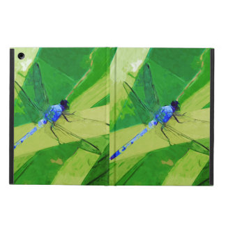 Blue Dragonfly on Green Abstract Impressionism iPad Air Cases