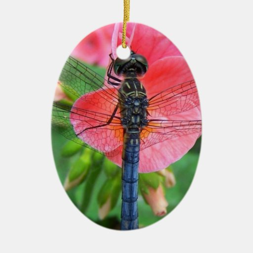 Blue dragonfly on pink flower green background christmas ornaments