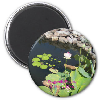 Blue Dragonfly on Pink Waterlily 2 Inch Round Magnet