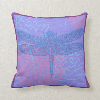 Blue Dragonfly on Purple Background Throw Pillow