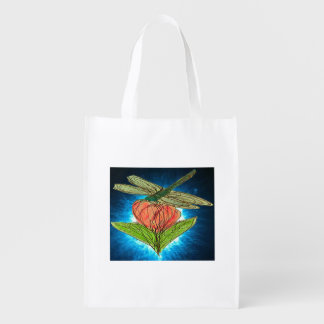 Blue Dragonfly on Rose with radiant blue glow Reusable Grocery Bag