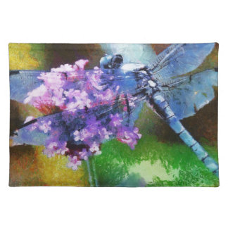 Blue Dragonfly on Wild Garlic Cloth Placemat