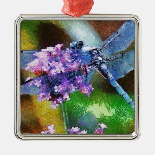 Blue Dragonfly on Wild Garlic Metal Ornament