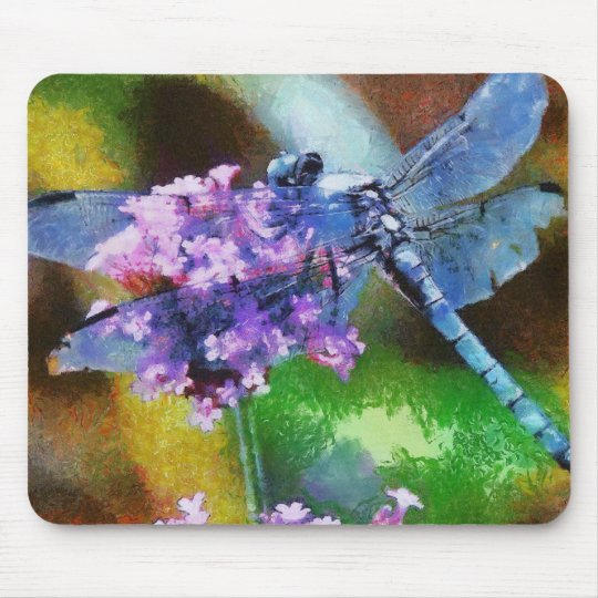 Blue Dragonfly on Wild Garlic Mouse Pad
