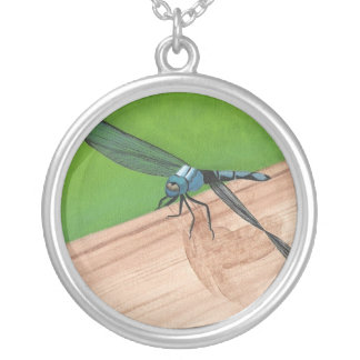 Blue Dragonfly Painting Insect Necklace
