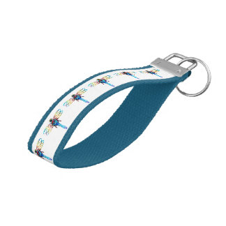 blue dragonfly pattern wrist keychain