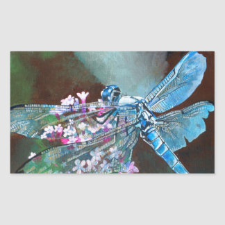 Blue Dragonfly Rectangle Sticker