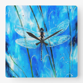 Blue Dragonfly Square Wall Clock