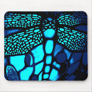 blue dragonfly stained glass mouse pad