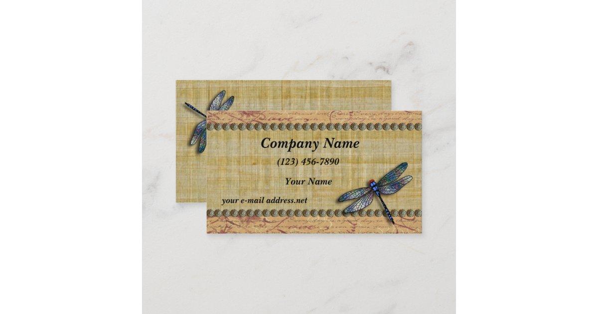 Blue Dragonfly Vintage Papyrus Business Card   Zazzle.com
