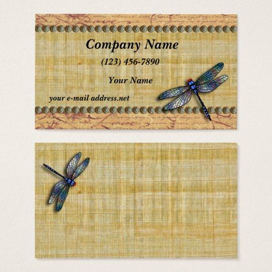 Blue Dragonfly Vintage Papyrus Business Card Zazzle Com