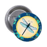 Blue Dragonfly with Leaves Button