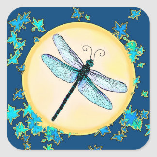 Blue Dragonfly with Leaves Stickers