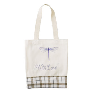 Blue Dragonfly With Love Zazzle HEART Tote Bag