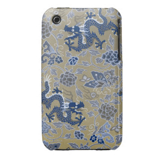 Blue Dragons and Flowers on Dull Gold iPhone 3 Case