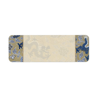 Blue Dragons and Flowers on Dull Gold Label