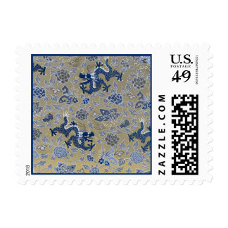 Blue Dragons and Flowers on Dull Gold Postage