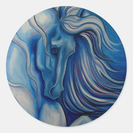 Blue Drama Horse Classic Round Sticker