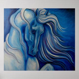 Blue Drama Horse Poster