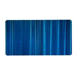 Blue drapes label