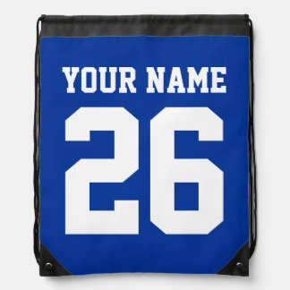 Blue drawstring bag   Personalized jersey number