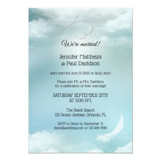 Blue Dream Cloud Wedding Reception Only Invitation