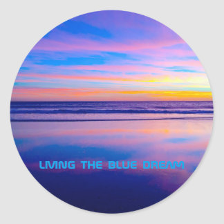Blue Dream Sunset Santa Monica Classic Round Sticker