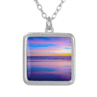 Blue Dream Sunset Santa Monica Square Pendant Necklace