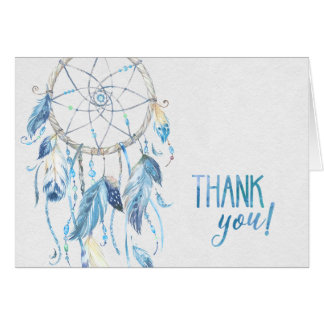Blue Dreamcatcher Folded Thank You Card
