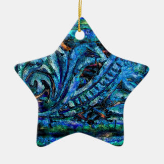 Blue Dreams Abstract #1 Ceramic Ornament