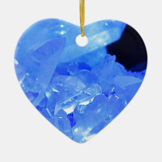 Blue Dreams Crystal Cluster Heart Ornament