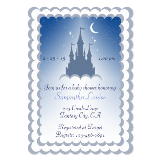 Blue Dreamy Castle In The Clouds Baby Shower Card