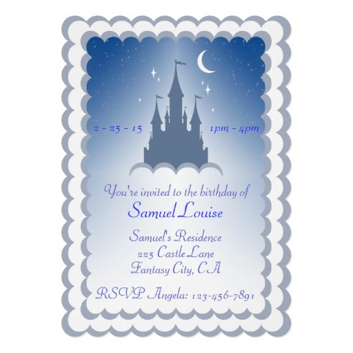 Blue Dreamy Castle In The Clouds Birthday Custom Invites